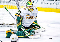 26 January 2019:  University of Vermont Catamount Goaltender Stefanos Lekkas, a Junior from Elburn, IL, makes an overtime save against the Merrimack College Warriors at Gutterson Fieldhouse in Burlington, Vermont. The Catamounts defeated the Warriors 4-3 in overtime to take both games of their weekend America East conference series. Mandatory Credit: Ed Wolfstein Photo *** RAW (NEF) Image File Available ***