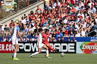 Cary, NC - Sunday October 22, 2017: Cho Sohyun and Christen Press during an International friendly match between the Women's National teams of the United States (USA) and South Korea (KOR) at Sahlen's Stadium at WakeMed Soccer Park. The U.S. won the game 6-0.