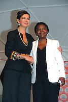 Il Presidente della Camera Laura Boldrini abbraccia Cecile Kyenge alla festa di Sel a Sesto San Giovanni, all'indomani degli insulti razzisti a Cervia contro la ministra dell'Integrazione.<br /> Foto Livio Senigalliesi