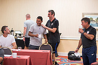 Orlando, FL - Friday Oct. 14, 2016:   Candidates have a laugh with lead instructor Vanni Sartini during a US Soccer Coaching Clinic in Orlando, Florida.