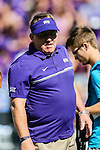 TCU Horned Frogs head coach, Gary Patterson, in action during the game between the Texas Tech Red Raiders and the TCU Horned Frogs at the Amon G. Carter Stadium in Fort Worth, Texas.