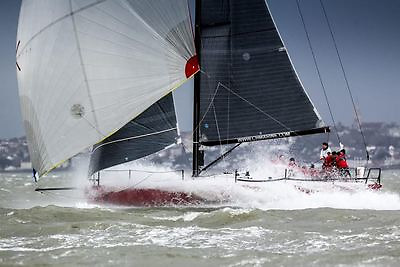 Anthony O'Leary helming his Ker 39 Antix flat out in the RORC Easter Regatta in the Solent
