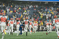 FOXBOROUGH, MA - OCTOBER 27: Cleveland Browns run into the stadium during a game between Cleveland Browns and New Enlgand Patriots at Gillettes on October 27, 2019 in Foxborough, Massachusetts.