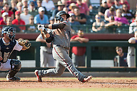 Salt River Rafters designated hitter Daulton Varsho (8), of the Arizona Diamondbacks organization, follows through on his swing in front of catcher Joe DeCarlo (4) during the Arizona Fall League Championship Game against the Peoria Javelinas at Scottsdale Stadium on November 17, 2018 in Scottsdale, Arizona. Peoria defeated Salt River 3-2 in 10 innings. (Zachary Lucy/Four Seam Images)