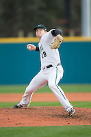 Coastal Carolina Chanticleers starting pitcher Alex Cunningham (18) in action against the Bryant Bulldogs at Springs Brooks Stadium on March 13, 2015 in Charlotte, North Carolina.  The Chanticleers defeated the Bulldogs 7-2.  (Brian Westerholt/Four Seam Images)