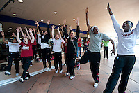 NORFOLK, VA--The Stanford Cardinal dance to the songs performed by the band before heading to the first round matchup against Hampton University at the Ted Constant Convocation Center at Old Dominion University in Norfolk, VA for the 2012 NCAA Championships.