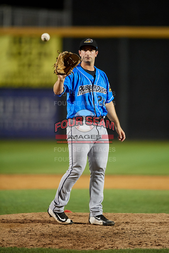 Akron RubberDucks relief pitcher R.C. Orlan (28) waits to receive the ball back from the catcher during a game against the Harrisburg Senators on August 18, 2018 at FNB Field in Harrisburg, Pennsylvania.  Akron defeated Harrisburg 5-1.  (Mike Janes/Four Seam Images)