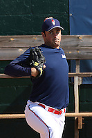T.J. McFarland #29 of the Kinston Indians throwing in the bullpen before a game against the Lynchburg Hillcats at Granger Stadium on April 28, 2010 in Kinston, NC. Photo by Robert Gurganus/Four Seam Images.