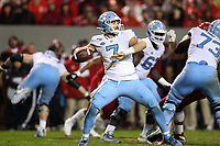 RALEIGH, NC - NOVEMBER 30: Sam Howell #7 of the University of North Carolina drops back to pass during a game between North Carolina and North Carolina State at Carter-Finley Stadium on November 30, 2019 in Raleigh, North Carolina.