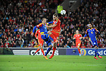 UEFA EURO 2016 Qualifier match between Wales and Andorra at Cardiff City Stadium in Cardiff : <br /> Sam Vokes of Wales is tackled by Ildefons Lima of Andorra in the second half.