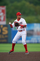 Auburn Doubledays shortstop Jose Sanchez (44) throws to first base during a NY-Penn League game against the Connecticut Tigers on July 12, 2019 at Falcon Park in Auburn, New York.  Auburn defeated Connecticut 7-5.  (Mike Janes/Four Seam Images)