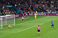 6th July 2021; Wembley Stadium, London, England; Euro 2020 Football Championships semi-final, Italy versus Spain;  Manuel Locatelli has his penalty kick saved