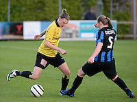 20140502 - VARSENARE , BELGIUM : Lierse's Yana Daniels (l) pictured with Brugge's Elle Decorte (r) during the soccer match between the women teams of Club Brugge Vrouwen  and WD Lierse SK  , on the 26th matchday of the BeNeleague competition on Friday 2 May 2014 in Varsenare .  PHOTO DAVID CATRY