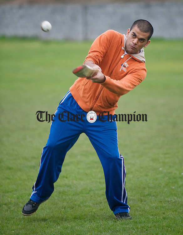 Raj Ender bats at the Clare Cricket Club training session at Shannon. Photograph by John Kelly.