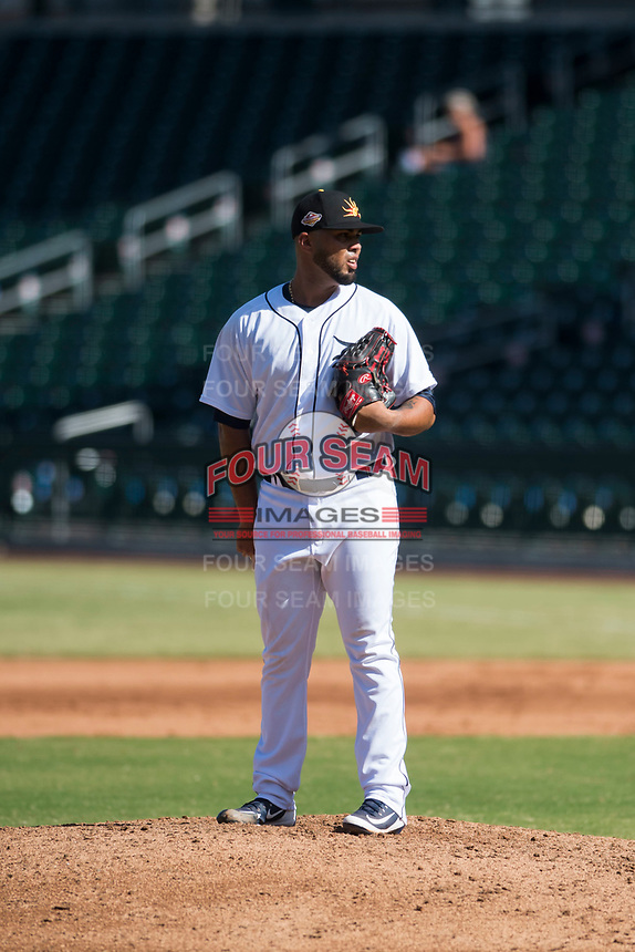 Mesa Solar Sox relief pitcher Eduardo Jimenez (66), of the Detroit Tigers organization, looks in for the sign during an Arizona Fall League game against the Peoria Javelinas at Sloan Park on October 24, 2018 in Mesa, Arizona. Mesa defeated Peoria 4-3. (Zachary Lucy/Four Seam Images)