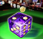 Illustrative image of coin falling in dice representing gambling