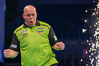12th March 2020; M and S Bank Arena, Liverpool, Merseyside, England; Professional Darts Corporation, Unibet Premier League Liverpool; Michael van Gerwen pulls a face