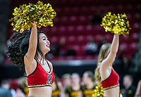 COLLEGE PARK, MD - FEBRUARY 13: Maryland cheerleaders perform during a game between Iowa and Maryland at Xfinity Center on February 13, 2020 in College Park, Maryland.
