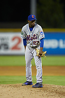Kingsport Mets starting pitcher Willy Taveras (27) looks to his catcher for the sign against the Burlington Royals at Burlington Athletic Stadium on July 27, 2018 in Burlington, North Carolina. The Mets defeated the Royals 8-0.  (Brian Westerholt/Four Seam Images)