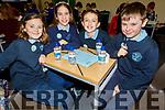 Kate Hoare, Katie Turner, Éabha Jones, Séadhna O'Brien from Scoil Uaimh Bhréanainn NS taking part in the Cara Credit Union School Quiz in the I T Tralee on Sunday.