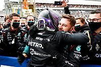 26th September 2021; Sochi, Russia; F1 Grand Prix of Russia, Race Day:   44 Lewis Hamilton GBR, Mercedes-AMG Petronas F1 Team celebrates his race win