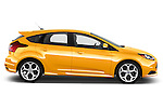 Passenger Side Profile View of 2013 Ford Focus ST Stock Photo