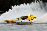 "13-14 June, 2009, APBA Inboards, Walled Lake, Novi, MI. USA.Tom Thompson, E-816 ""Batt Boat"", 5 Litre hydroplane.©F. Peirce Williams 2009 USA.F.Peirce Williams.photography.ref: RAW (.NEF) File Available"