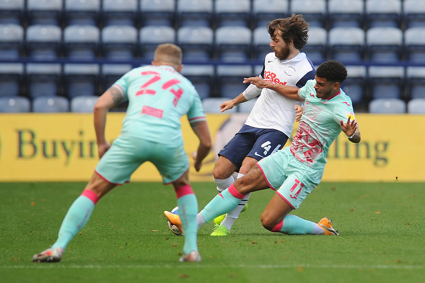 Preston North End's Ben Pearson under pressure from Swansea City's Morgan Gibbs-White<br /> <br /> Photographer Kevin Barnes/CameraSport<br /> <br /> The EFL Sky Bet Championship - Preston North End v Swansea City - Saturday September 12th 2020 - Deepdale - Preston<br /> <br /> World Copyright © 2020 CameraSport. All rights reserved. 43 Linden Ave. Countesthorpe. Leicester. England. LE8 5PG - Tel: +44 (0) 116 277 4147 - admin@camerasport.com - www.camerasport.com