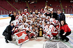MINNEAPOLIS, MN - MARCH 26: The Wisconsin Badgers women's hockey team poses with the National Championship trophy after beating the Minnesota Golden Gophers at Mariucci Arena during the Women's Frozen Four Tournament final on March 26, 2006 in Minneapolis, Minnesota. The Badgers beat the Gophers 3-0. (Photo by David Stluka)