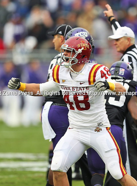 Iowa State Cyclones defensive end Cory Morrissey (48) in action during the game between the Iowa State Cyclones and the TCU Horned Frogs  at the Amon G. Carter Stadium in Fort Worth, Texas. Iowa State leads TCU 16 to 10 at halftime....