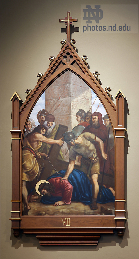 Stations of the Cross in the Basilica of the Sacred Heart.  Station 7...Photo by Matt Cashore..
