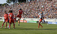 Oguchi Onyewu's header goes into goal. The USA defeated China, 4-1, in an international friendly at Spartan Stadium, San Jose, CA on June 2, 2007.