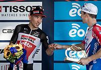a cordial fistbump from runner-up Caleb Ewan (AUS/Lotto-Soudal) & race winner Arnaud Démare (FRA/Groupama-FDJ) on the podium<br /> <br /> 101st Milano-Torino 2020 (UCI 1.Pro)<br /> 1 day race from Mesero to Stupinigi (198km)