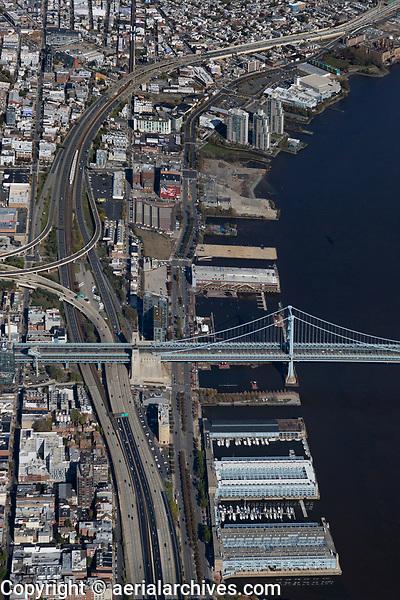 aerial photograph of the Benjamin Franklin Bridge, Delaware waterfront piers and Interstate 95, Philadelphia, Pennsylvania