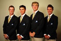 Australian men, from left, Kieran Pratt, Jason Scivener, Daniel Beckman and Jordan Sherratt. Trans-Tasman NZ teams at Royal Wellington Golf Club, Wellington, New Zealand on Sunday, 28 March 2010. Photo: Dave Lintott / lintottphoto.co.nz