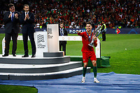 Cristiano Ronaldo of Portugal collects the trophy after winning the UEFA Nations League Final match between Portugal and Netherlands at Estadio do Dragao on June 9th 2019 in Porto, Portugal. (Photo by Daniel Chesterton/phcimages.com)<br /> Finale <br /> Portogallo Olanda<br /> Photo PHC/Insidefoto <br /> ITALY ONLY
