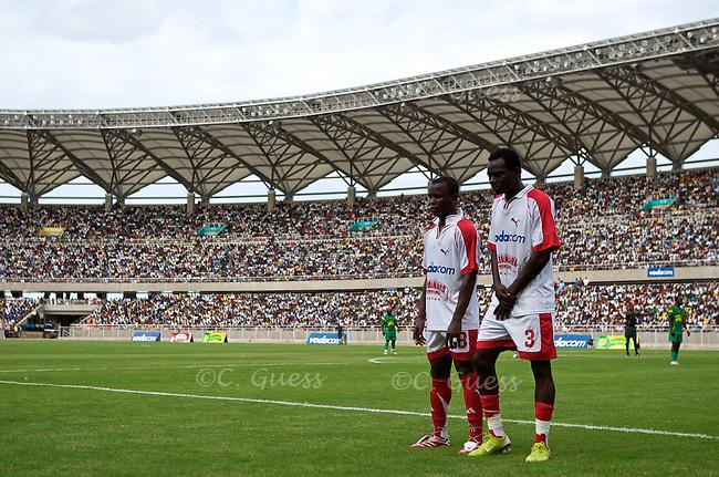 Two Simba players line up to block a penalty kick during the Yanga versus Simba football game in Dar Es Salaam, Tanzania.
