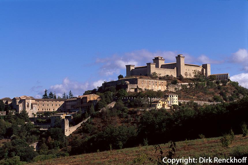 Italien, Umbrien, Burg Rocca Albornoziana in Spoleto.