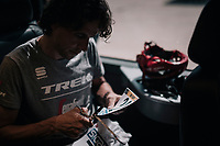 Koen de Kort (NED/Trek-Segafredo) customising his race numbers<br /> <br /> 104th Tour de France 2017<br /> Stage 8 - Dole › Station des Rousses (187km)