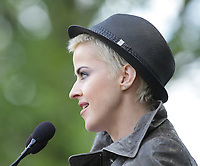 Genevieve Borne reads a text  during the Moulin a Paroles held on the Plains of Abraham in Quebec city September 13, 2009.