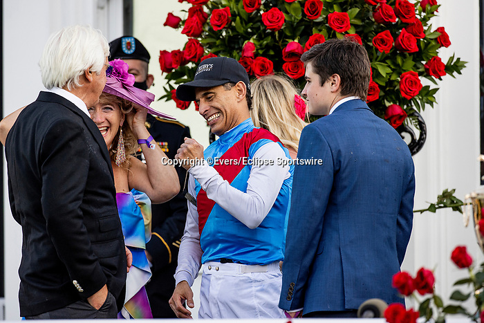 MAY 01, 2021:  John Velazquez and Bob Baffert celebrate after wining the Kentucky Derby at Churchill Downs in Louisville, Kentucky on May 1, 2021. EversEclipse Sportswire/CSM