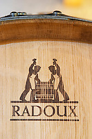 Oak barrel marked by the cooper Radoux chateau le boscq st estephe medoc bordeaux france