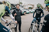 pre-training breefing by DS Giorgia Bronzini (ITA)<br /> <br /> Team Trek-Segafredo women's team<br /> training camp<br /> Mallorca, january 2019<br /> <br /> ©kramon
