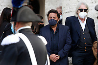 Film director Enrico Vanzina and actor Enrico Brignano crying during the funeral of the Italian actor Gigi Proietti. The actor was taken to the Globe Theatre for a short ceremony before the one in the church of Artist in Piazza del popolo.<br /> Rome (Italy), November 5th 2020<br /> Photo Samantha Zucchi Insidefoto