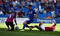 28th August 2021; Cardiff City Stadium, Cardiff, Wales;  EFL Championship football, Cardiff versus Bristol City; Ryan Giles of Cardiff City attack is stopped by the sliding tackle from Daniel Bentley of Bristol City
