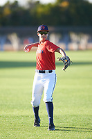 Cole Parker (43), from Los Angeles, California, while playing for the Red Sox during the Under Armour Baseball Factory Recruiting Classic at Gene Autry Park on December 27, 2017 in Mesa, Arizona. (Zachary Lucy/Four Seam Images)