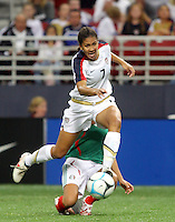USWNT 5 Mexico 1. .Edward Jones Dome , St Louis, MO 10-13-07.Shannon Boxx carries the ball.