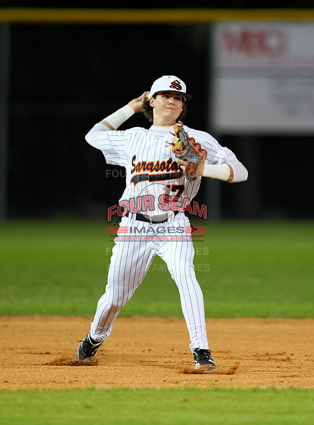 Sarasota Sailors shortstop Mario Trivella (17) during warmups before a game against the Riverview Rams on February 19, 2021 at Rams Baseball Complex in Sarasota, Florida. (Mike Janes/Four Seam Images)
