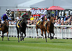 Lilbourne Lad (no. 3), ridden by Richard Hughes and trained by Richard Hannon, wins the group 2 Railway Stakes for two year olds on June 26, 2011 at the Curragh Racecourse in Newbridge, Kildare, Ireland.  (Bob Mayberger/Eclipse Sportswire)