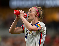 HOUSTON, TX - JUNE 10: Becky Sauerbrunn #4 of the USWNT drinks from a BioSteel bottle during a game between Portugal and USWNT at BBVA Stadium on June 10, 2021 in Houston, Texas.